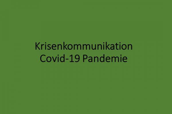 Krisenkommunikation Covid-19 Pandemie